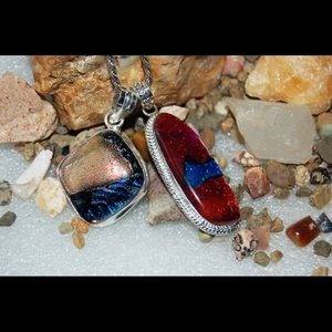 2 Dichroic Handmade Statement Pendants 2""
