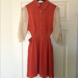 Be & D Dresses & Skirts - Orange and beige dress with side cuts