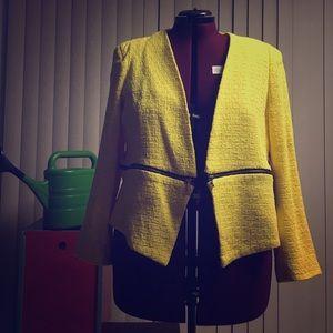 Exposed Zip jacket Yellow Tweed 18W Eloquii Plus