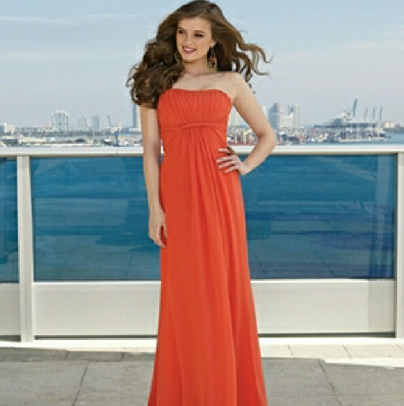 Mori Lee Dresses   Chiffon Dress Jalapeno Orange 285 Gown   Poshmark