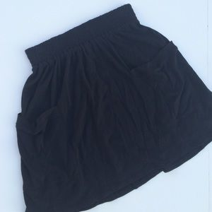 Cotton Modal Black Knit Jersey Mini Skirt Sz S