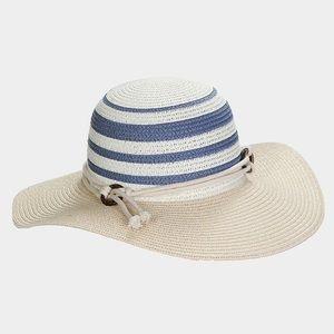 Striped wide brim floppy sun hat