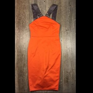 Orange and gray strap midi dress