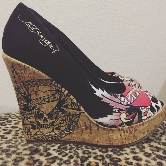 c2bb7d3cc51 Ed Hardy Shoes - Ed Hardy peep toe wedge heels.