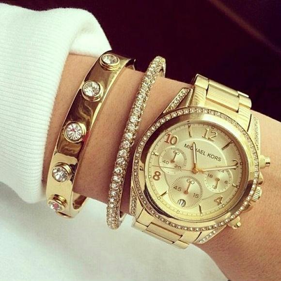 f6e0dab73d29 New Michael Kors Blair gold MK Glam watch MK5166