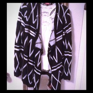 Say What? Sweaters - Black & white cardigan sweater