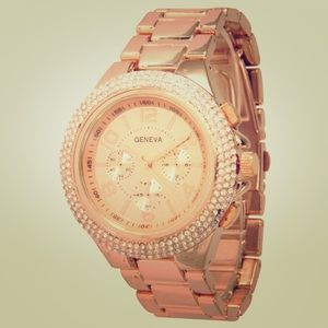 Geneva gold watch w/ rose gold face