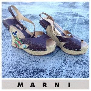 Marni Embroidered Wedges