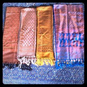 Stunning silk/wool stoles with hand tied tassels.