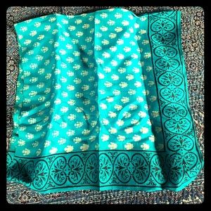 Hand woven and printed silk scarf