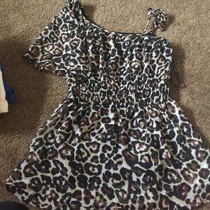 One shoulder, cheetah shirt, size medium