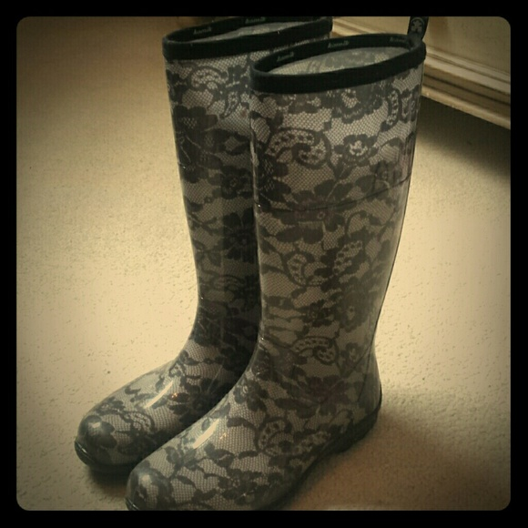 Kamik Shoes Black Lace Patterned Rain Boots Poshmark Custom Patterned Rain Boots