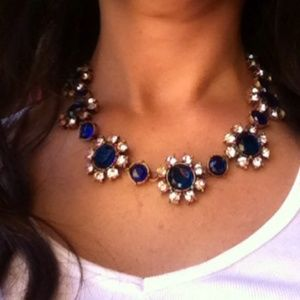 NWT Blue Floral Crystal Collar Statement Necklace