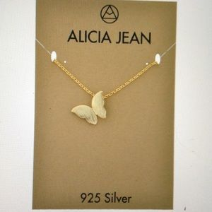BUTTERFLY IN FLIGHT-GOLD PLATED-NECKLACE