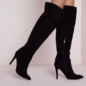 Missguided knee high stiletto heeled boots