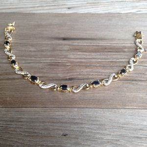 Jewelry - Gold over Sterling Blue Spinel Infinity Bracelet