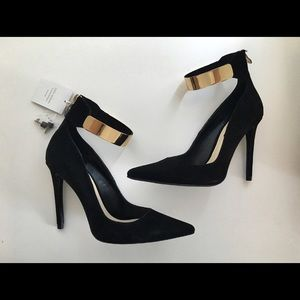 Brand New Zara Heels with Ankle Gold Metal