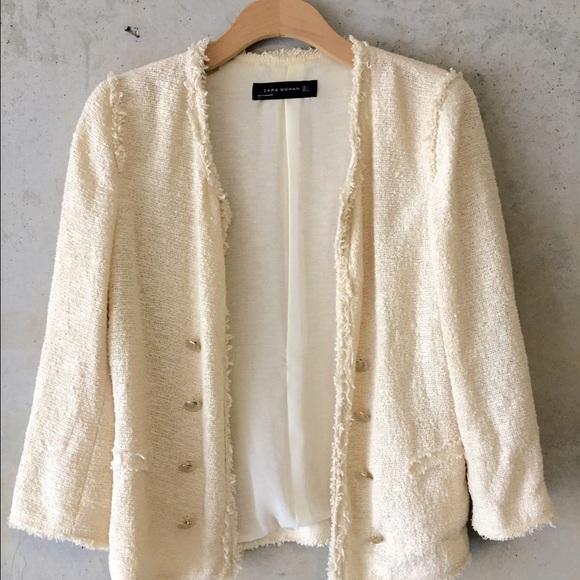 3f316aee Zara Jackets & Coats | Fall Forward Sale Boucle Jacket Cream | Poshmark