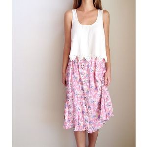 pink floral midi skirt