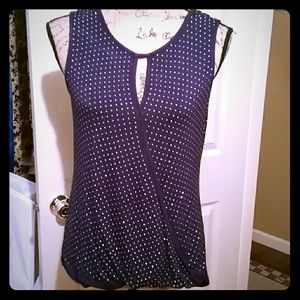 Beautiful navy colored jeweled rayon top