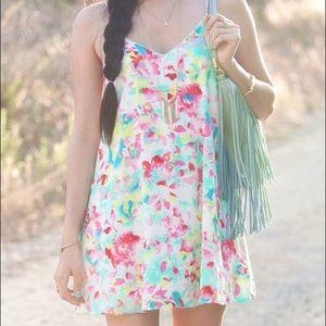 White pastel floral print peach love ca sun dress