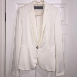 Zara White Cotton Blazer