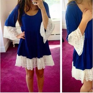 Blue or Mocha Lace Bottom Peasant Boho Mini Dress