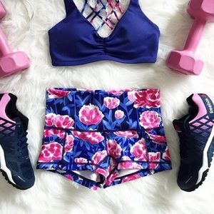 Pop Flex Floral Workout Shorts (w/ Pockets!)