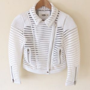 Molly Bracken White Moto Jacket Small