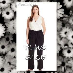 NY Collection Pants - 🆕NY Collection Plus SZ Lace White/Black Jumpsuit