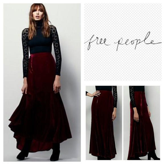 7c6caaf6f Free People Dresses & Skirts - Free People Curtain Call Velvet Maxi Skirt.  NWOT.
