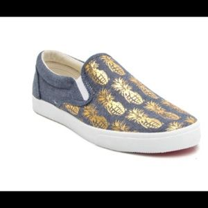 Bucket Feet Shoes - Pineapple Chambray/Gold Canvas Slip-Ons