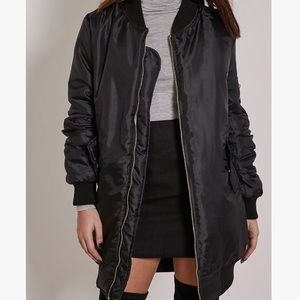 Black Long Bomber Jacket