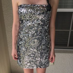 Bebe Sparkly Strapless Dress
