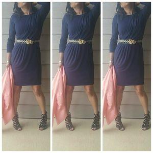 Blue drapped dress