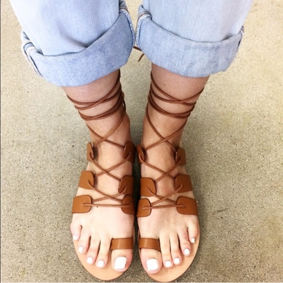 d3b9d05ca27a Forever 21 Shoes - Forever 21 Lace Up Gladiator Sandals in Tan