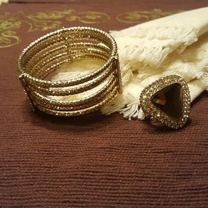 2 pc gold with rhinestone accents. SALE