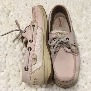 Pink sperry top-sider leather boat shoes