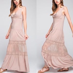 Dresses & Skirts - Sheer Lace trimmed Maxi Dress