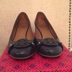 a095f20941ca24 Tory Burch Shoes - Tory Burch Mini Miller 45mm Navy Wedge Heels 7.5