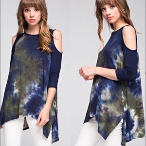Tops - ⚡️ONLY LARGE LEFT⚡️Tie Dye Cold-sleeved Top.