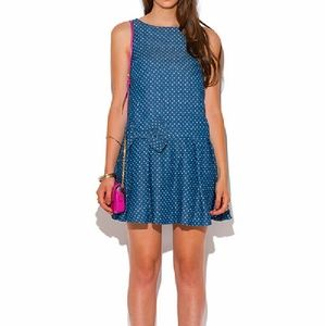 Clearance Polka Dot Print Blue Denim Bow Dress