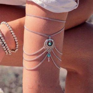 Boho Turquoise Silver Arm Cuff