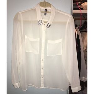 white button down shirt, beaded crystal collar