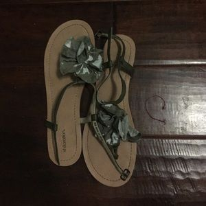 Green/White Flowered Sandals