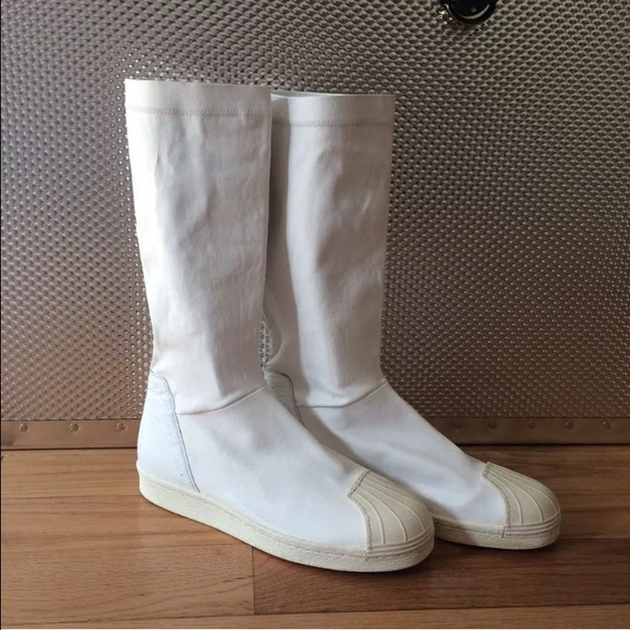 Rick Owens Shoes X Adidas Superstar White Leather Boots Poshmark