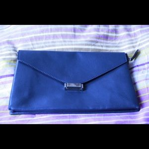 Bags - HP! Listing #2 Navy Leather Clutch Envelope Bag