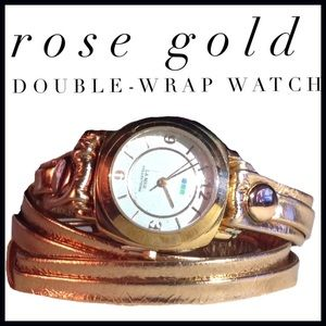La Mer Accessories - Rose-gold Tone Leather Double Wrap Watch