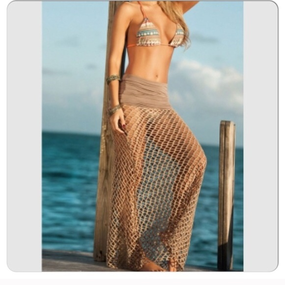 14d661f8d6923 Sexy Khaki Fishnet Beach Skirt Cover Up. M_573ddae8eaf0301ff9003696