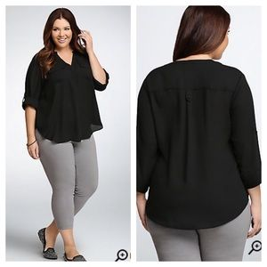 Torrid black semi sheer chiffon blouse